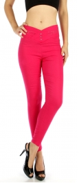 wholesale B04 V-shaped waist cotton jeggings Hot pink M